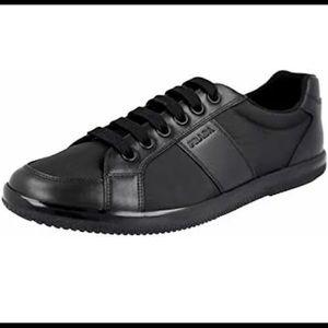 Prada Men's Nylon Leather Sneaker, Black 4E2845